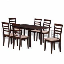 Meghosszabbítható tömör fa étkező garnitúra 6 db székkel barna-krém