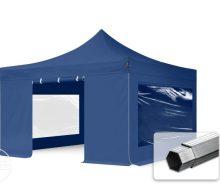 Professional összecsukható sátrak PROFESSIONAL 400g/m2 ponyvával, alumínium szerkezettel, 4 oldalfallal, panoráma ablakkal - 4x4m sötétkék
