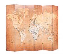 VID sárga paraván 228 x 180 cm világtérkép