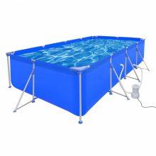 Fémvázas medence vízforgatóval [394 x 207 x 80 cm] - téglalap