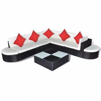 VID 27 részes polyrattan ülőgarnitúra fekete, piros párnákkal