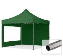 Professional összecsukható sátrak PREMIUM 350g/m2 ponyvával, acélszerkezettel, 2 oldalfallal, panoráma ablakkal - 3x3m zöld