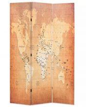 VID sárga paraván 120 x 180 cm világtérkép
