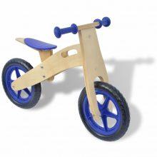 Lábbal hajtható fa kerékpár kék színben