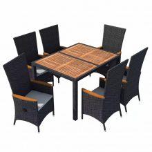 VID 6 személyes 13 részes kültéri polyrattan akácfa étkező szett fekete színben 923118