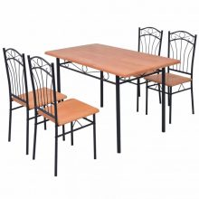 Barna étkezőgarnitúra 1 db asztallal, 4 db székkel
