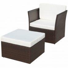 VID 5 részes polyrattan kerti szék szett barna színben