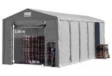 Vario raktársátor 8x12m - 3,6m oldalmagassággal-bejárat típusa: felhúzható