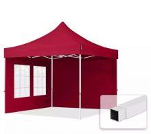 Professional összecsukható sátrak ECO 300g/m2 ponyvával, acélszerkezettel, 2 oldalfallal - 3x3 m bordó