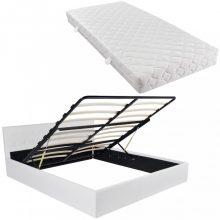 VID fehér műbőr ágy ágyneműtartóval és matraccal 180x200 cm