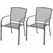 VID 2 db kültéri, rakásolható acélhálós szék