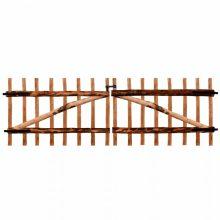VID impregnált, dupla mogyorófa deszka kerítéskapu 300 x 100cm