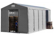 Vario raktársátor 8x12m - 3,6m oldalmagassággal, tetőablakkal-bejárat típusa: eltolható