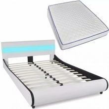 """PU bőr ágy 140x200 cm """"V11"""" memóriahabos matraccal, LED világítással, fehér színben"""