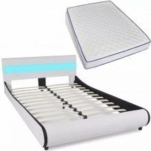 """VID PU bőr ágy 140x200 cm """"V11"""" memóriahabos matraccal, LED világítással, fehér színben"""