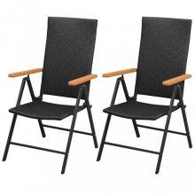 VID 2 db fekete rakásolható polyrattan kerti szék