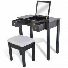 """VID Fésülködőasztal/sminkasztal tükörrel, ülőkével """"Noir"""""""