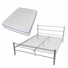 """VID Fém ágy 140x200 cm """"V07"""", memóriahabos matraccal, szürke színben"""