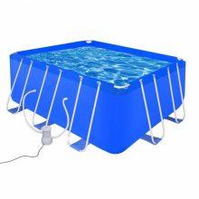 Fémvázas medence vízforgatóval  [400 x 207 x 122 cm] - téglalap
