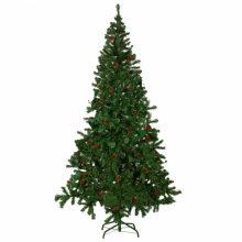 Karácsonyi keskeny műfenyő 12 TOBOZZAL - tartóval- 210 CM