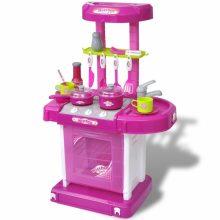 Rózsaszín gyermek játékkonyha fényekkel és kiegészítőkkel