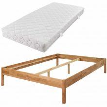 VID Bračni krevet od masivne hrastovine s madracem 140 x 200 cm