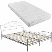 """Fém ágy 160x200 cm """"V2"""" matraccal, fehér színben"""
