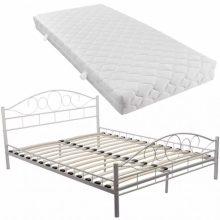 """VID Fém ágy 160x200 cm """"V2"""" matraccal, fehér színben"""