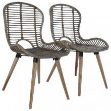 VID 2 db barna rakásolható természetes rattan kültéri szék