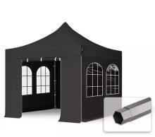 Professional összecsukható sátrak PREMIUM 350g/m2 ponyvával, acélszerkezettel, 4 oldalfallal, hagyományos ablakkal - 3x3m fekete