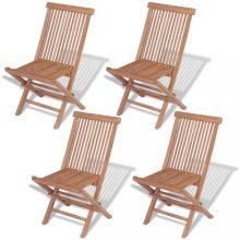 VID 4 db összecsukható tömör tíkfa kerti szék