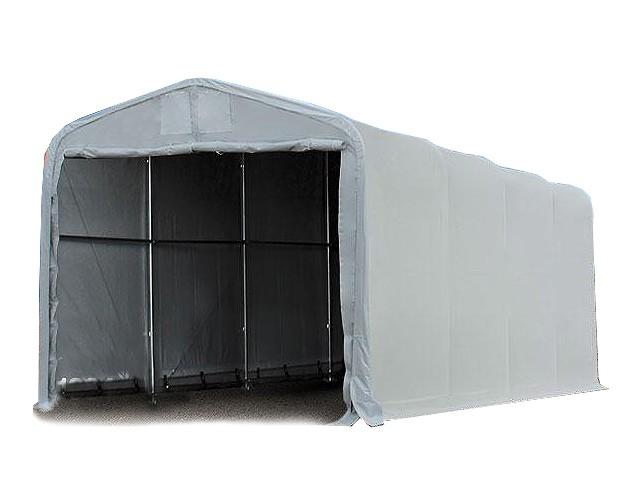 cd4602a53c92 Ponyvagarázs/ sátorgarázs / tároló 4x8m-3,35m oldalmagasság, PVC 550g/nm  kapuméret: 3,5x3,5m szürke színben
