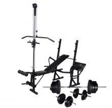 VID edzőpad állvánnyal, egykezes és kétkezes súlyzószettel 60,5 kg