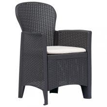 VID 2 db barna műanyag kerti szék párnával