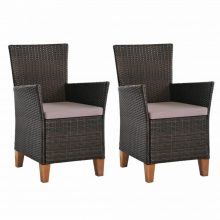 VID 2 db barna polyrattan kültéri szék párnával