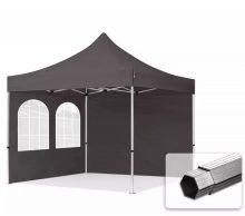 Professional összecsukható sátrak PROFESSIONAL 400g/m2 ponyvával, alumínium szerkezettel, 2 oldalfallal, hagyományos ablakkal -  3x3m sötétszürke