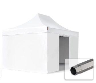 Professional összecsukható sátrak PREMIUM 350g/m2 ponyvával, acélszerkezettel, 4 oldalfallal, ablak nélkül - 3x4,5m fehér