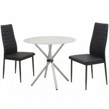 VID Étkező garnitúra készlet 2 székkel, 1 üvegasztallal fekete színben