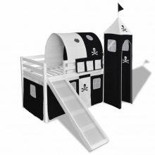 VID Emeletes ágy, gyermekágy csúszdával, kalóz mintával - fehér színben