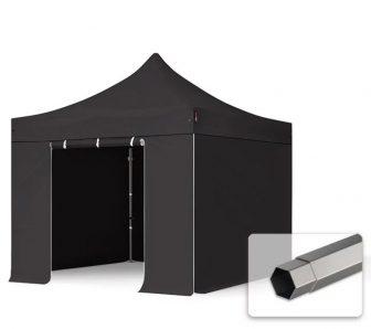 Professional összecsukható sátrak PREMIUM 350g/m2 ponyvával, acélszerkezettel, 4 oldalfallal, ablak nélkül - 3x3m fekete