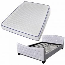 """PU bőr ágy 140x200 cm """"V12"""" memóriahabos matraccal, fehér színben"""
