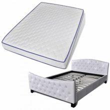 """VID PU bőr ágy 140x200 cm """"V12"""" memóriahabos matraccal, fehér színben"""