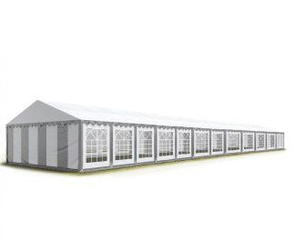 TP Professional deluxe 6x24m-2,6m oldalmagasság, 550g/m2 rendezvénysátor extra vastag acélszerkezettel fehér-szürke tűzálló
