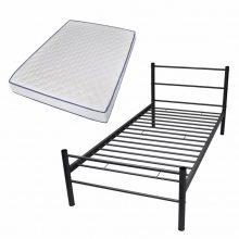 """VID Fém ágy 90x200 cm """"V07"""", memóriahabos matraccal, fekete színben"""