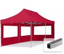 Professional összecsukható sátrak ECO 300 g/m2 ponyvával, alumínium szerkezettel, 2 oldalfallal + 3 ablakkal - 3x6m bordó