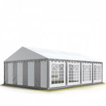 TP Professional deluxe 6x8m nehéz acélkonstrukciós rendezvénysátor erősített tetőszerkezettel szürke-fehér