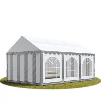 TP Professional deluxe 3x6m nehéz acélkonstrukciós rendezvénysátor erősített tetőszerkezettel szürke-fehér tűzálló ponyvával