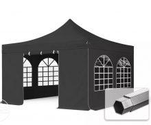 Professional összecsukható sátrak PROFESSIONAL 400g/m2 ponyvával, alumínium szerkezettel, 4 oldalfallal, hagyományos ablakkal - 4x4m fekete