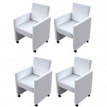 4 db karfás étkezőszék, görgős lábakkal fehér színben