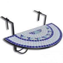 Mozaik erkélyi félköríves asztal kék